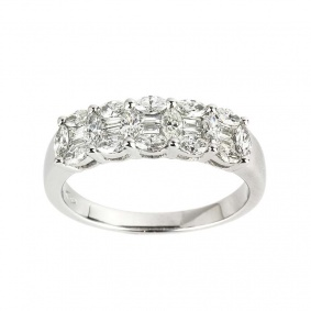 White Gold Diamond Half Eternity Ring 0.92ct